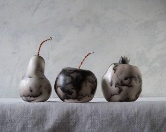 Raku Ceramic Fruit Set, Black/White Horse Hair, Porcelain Ceramic Arts,  Unique Home Decor, Handmade Housewarming Gift