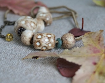 Handmade Ceramic Necklace, Free Shipping, Rustic Handcrafted Jewelry, Ancient Roman Glass Bead, One of a Kind Necklace, Ceramics Lovers Gift