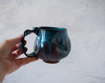 Handmade Ceramic Mug, 12oz, Turquoise Glaze, Unglazed  Dark Brown Clay, Drips of Glaze, One of the Kind Piece #2
