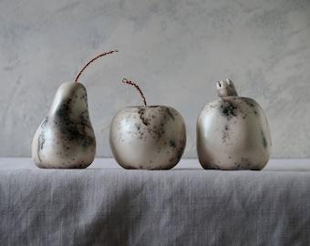 Raku Ceramic Fruit Set, Green Horse Hair, Porcelain Ceramic Arts,  Unique Home Decor, Handmade Housewarming Gift