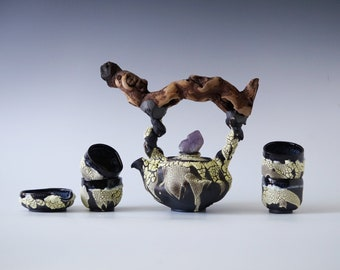 Handmade Ceramic Teapot Set, Tea Ceremony, Six Pieces, Cups, Amethyst Crystal, Nature Inspired Pottery, 20oz