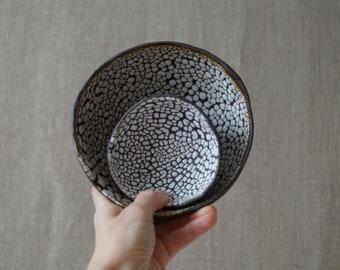 Handmade Ceramic Set of 2 Bowls, White Serving Dishes, Dry Black Sea Glaze, Beautiful Organic Shape, Nature Inspired Ceramic Art #3