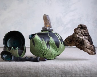 Handmade Ceramic Tea Ceremony Set, Green Glaze, Teapot & Two Cups, Spoon, Crackle Texture, Smoky Quartz Crystal, Wood Handle, 8 oz