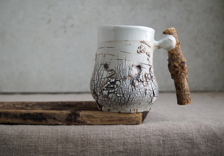 Handmade Ceramic Mug, Wooden Handle, Raw Porcelain Clay, Bark