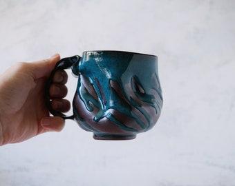 Handmade Ceramic Mug, 10oz, Turquoise Glaze, Unglazed  Dark Brown Clay, Drips of Glaze, One of the Kind Piece #4