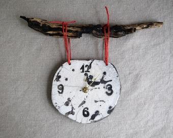 Handmade Raku Clock, Ceramic Clock, Wooden Hanging Clock, White and Black Rustic Clock, Crack Glaze Raku, Housewarming Gift for Him