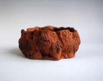 Handmade Ceramic Pot, Bonsai Tree Pot, Succulent Planter, Rough Wood Texture, One of the Kind Planter, Pottery Gift