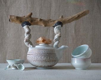 Handmade Ceramic Tea Ceremony Set of Five Pieces, Wooden Handle, Porcelain, Exclusive Rustic Design, Nature Inspired Pottery, 30 oz