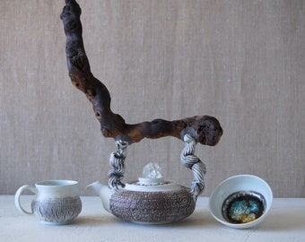 Handmade Ceramic Tea Ceremony Teapot, Silver Kintsugi, Mug, Bark Texture, Quartz Crystal Cluster, Wood Handle, Nature Inspired, 16 oz