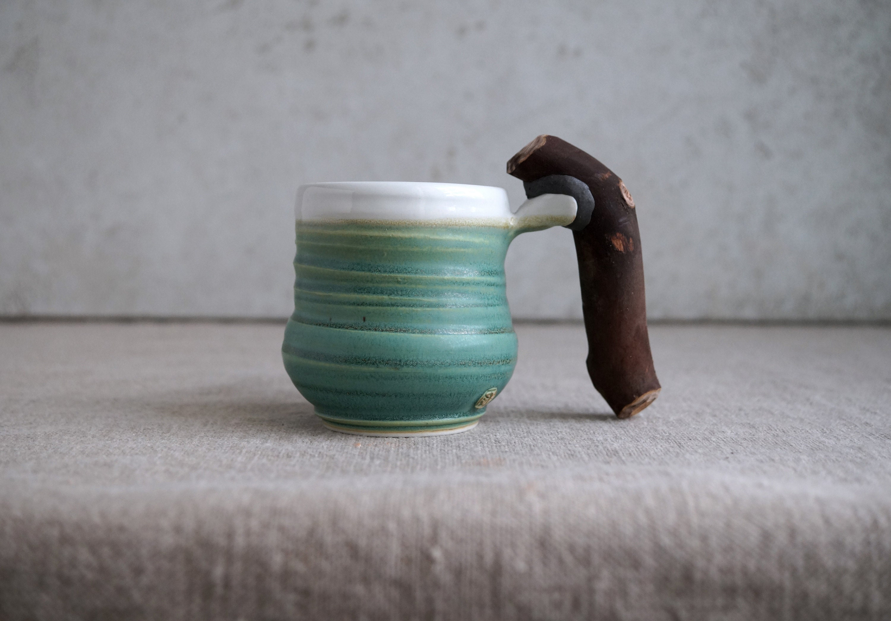 Handmade Ceramic Mug, Wooden Handle, Porcelain Clay, 8 oz, Patina