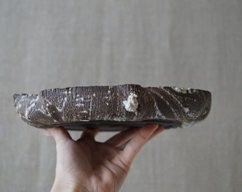 "Handmade Ceramic Pot, Bonsai Tree Pot, Succulent Planter, Rough Wood Texture, One of the Kind Planter, Pottery Gift, 8 1/2"""
