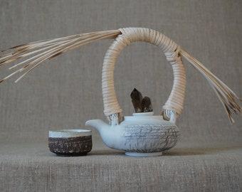 Handmade Ceramic Teapot, Reed Handle, Australian Smoky Quartz Crystal, One Tea Cup, 14 oz, Tea Ceremony Gift