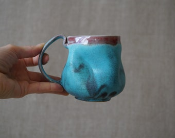 Handmade Ceramic Mug, 14 oz, Porcelain, Turquoise Glaze, One of the Kind Piece