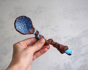 Handmade Ceramic Spoon with Crystal, Raw Quartz, Spiritual Accessory, Home/Kitchen Decor/Utensils