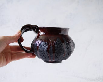 Handmade Ceramic Mug, 12 oz, Wonky Handle, Bark Texture, Unglazed Black Clay, Drips of Bloody Glaze, One of the Kind Piece