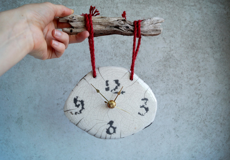 Handmade Ceramic Clockraku Firing Clock Wallhanging Clock Rustic