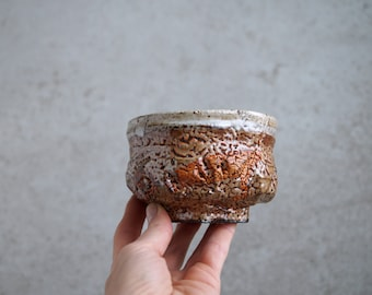 Handmade Ceramic Chawan, Shino Chawan, 10 oz, Unique Shino Glaze, Tea Bowl, High Fired Ceramics, Ceramic Art, Tea Ceremony Gift