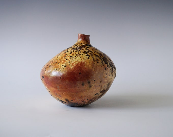 Featured listing image: Handmade Raku Vessel, Gold Iridescent Raku Arts, Foil Saggar Firing, Unique Home Decor