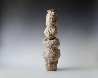 Handmade Tall Vessel, Volcanic Lace Glaze, Unique Ceramic Vase, Home Decor, White Ceramics, One of a Kind Piece