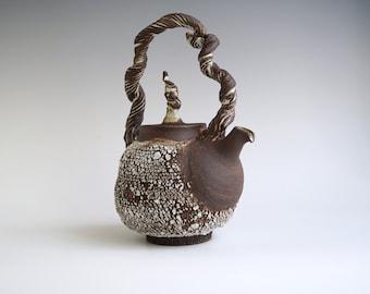 Handmade Ceramic Teapot, Bark Texture, Exclusive Rustic Design, 36 oz, Nature Inspired Pottery, Kintsugi detail on Handle.