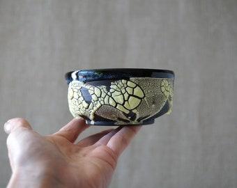 Handmade Ceramic Matcha Bowl, 8 oz, Chawan, Tea Cup, Unique Crackle Glaze, Porcelain, Ceramic Art, Tea Ceremony Gift