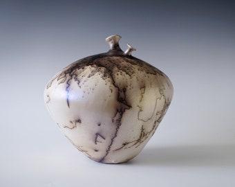 Handmade Raku Vessel, Iridescent Raku Arts, Horse Hair Firing, Unique Ceramic, One of a Kind Object, Gallery Art Piece