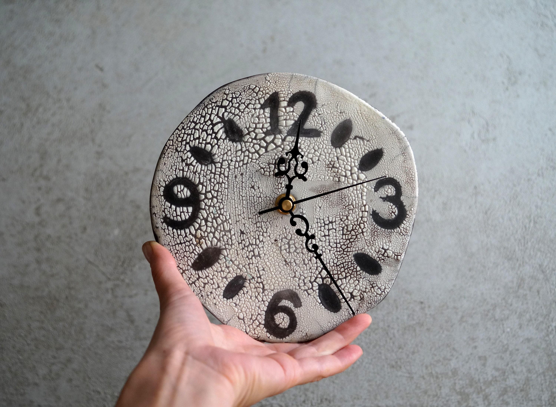Handmade Ceramic Clock Raku Firing Clock Wallhanging Clock