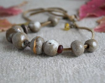 Handmade Ceramic Necklace, Rustic Handcrafted Jewelry, Ancient Roman Glass Bead, 22k Gold Luster Touch, One of a Kind Necklace.