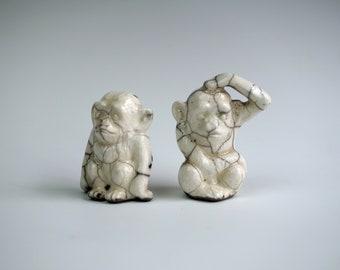 Handmade Raku Monkey Set of Two, White Black Crackle Glaze, Ceramics Art Home Decor, Unique  Housewarming Gift, Porcelain, Contemporary Art
