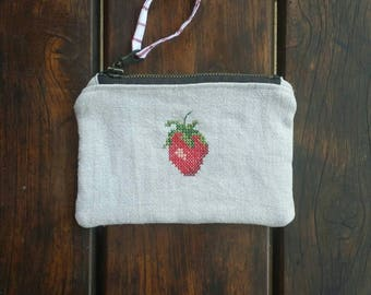 Beautiful recycled linen purse with hand embroidered strawberry.