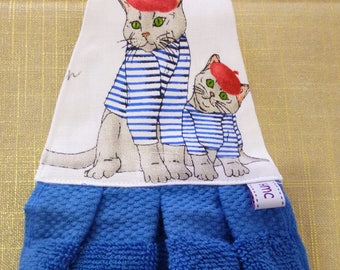 Hand Towel -  Meow monsieur  print.  Blue towel. Great for the kitchen or bathroom. Pretty and practical.