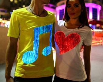 Mens light up edm music cool glow t shirt
