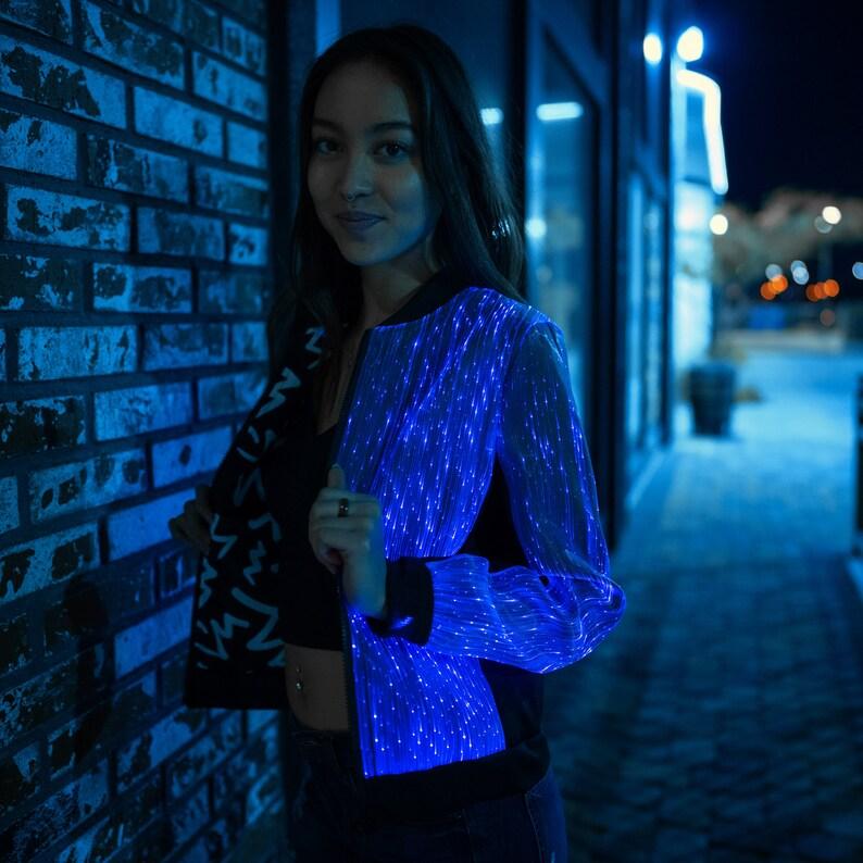 6f8810c9b Womens Bomber Jacket Light Up Clothing EDM Rave Clothes Burning Man