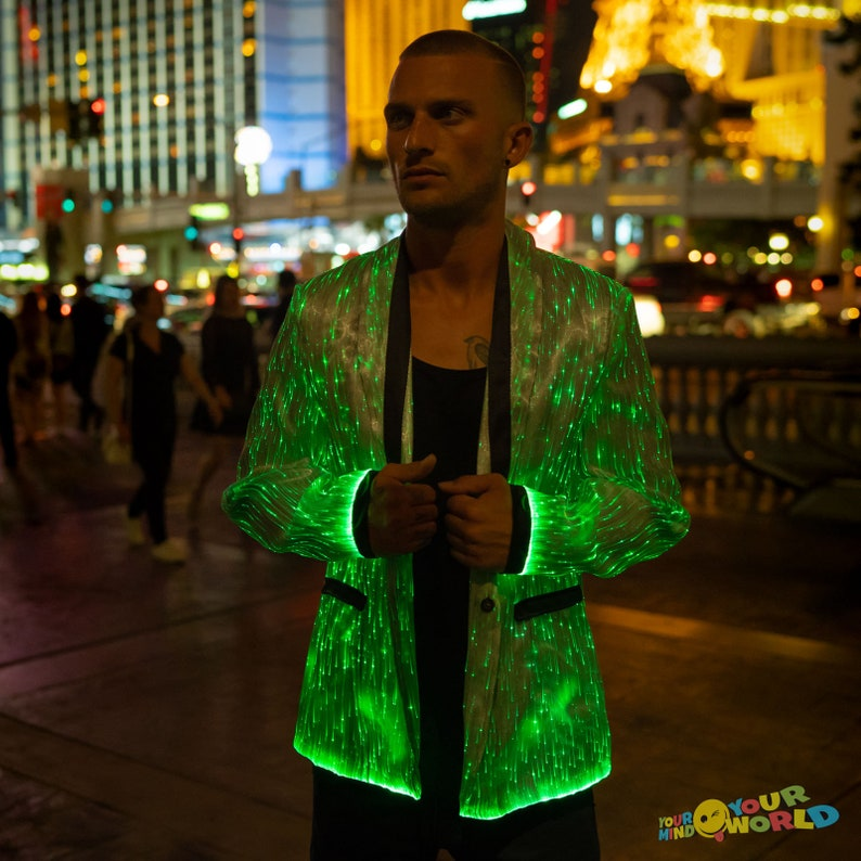 34f2d3f8 Fiber Optic Clothing LED Light Up Jacket for Men Burning Man | Etsy