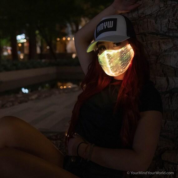 Light Up Rave Mask for Women Dust Mask Fiber Optic Mask Cool Mask Rave Clothing WHITE