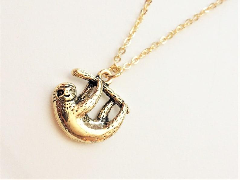 Kette Faultier gold *Neu* Kettenanhänger Tier Halskette