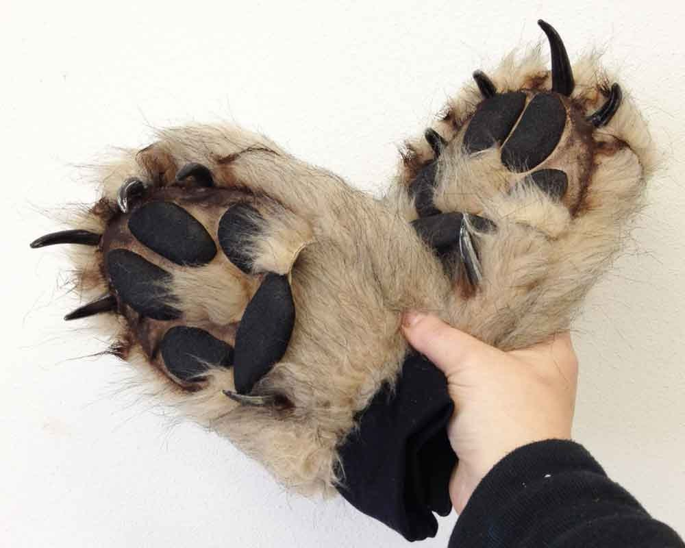 & Wolf Paw fake fur Gloves. Realistic animal costume luxury faux | Etsy