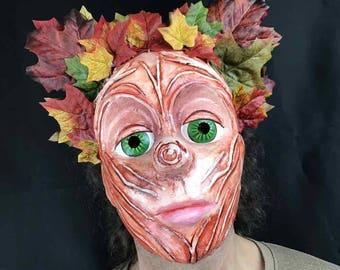 Garden Art. Woodland fairy wall mask. Adult sprite mask, Waterproof decor. Headdress, autumn leaves. Hand made by Tentacle Studio.