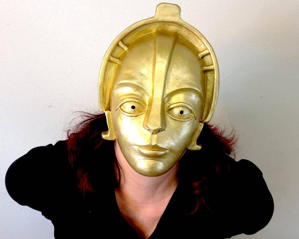 Gold Robot Metropolis Mask. Fembot Headdress. Handmade golden | Etsy