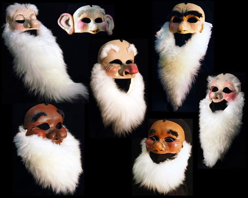 Seven dwarfs Snow White 7 Dwarf Masks Complete set FULL SIZE wearable  Theatre costumes masks Adult or child Handmade by Tentacle Studio