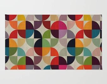 Funky rug, bathroom decor, colourful, Bright pattern, colourful retro rug, Dorm decor, Modern rug, bath mat, small rug, decor
