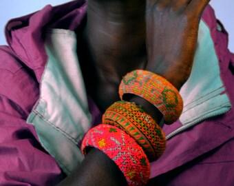 Hand stitched colour block cuffs
