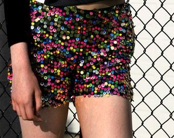 Rainbow Road Sequin Shorts, unique, designer.