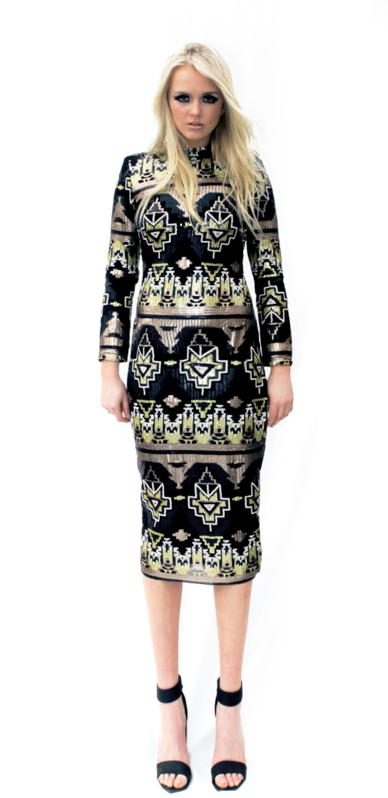 green long sleeves festival black Mirpur Green Dress:  midi-length sequin shift dress unique sequin boho Midi designer aztec gold