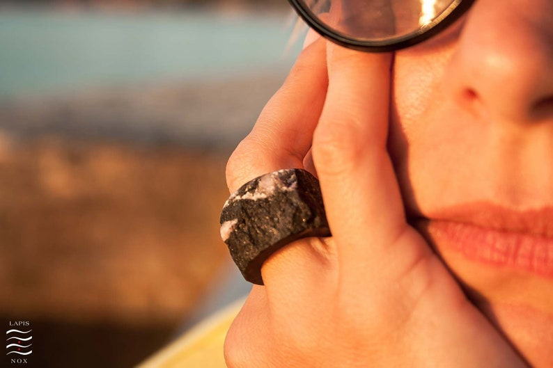 FREE SHIPPING,Tropical Bahia,upcycled,recycled,black,unique piece,unique jewelry,black granite Black granite unique raw stone ring
