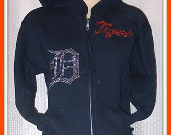 Detroit Tigers Zipper Jacket with a Hood in Navy