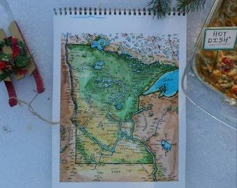 Fantasy Map of Minnesota (watercolor print)