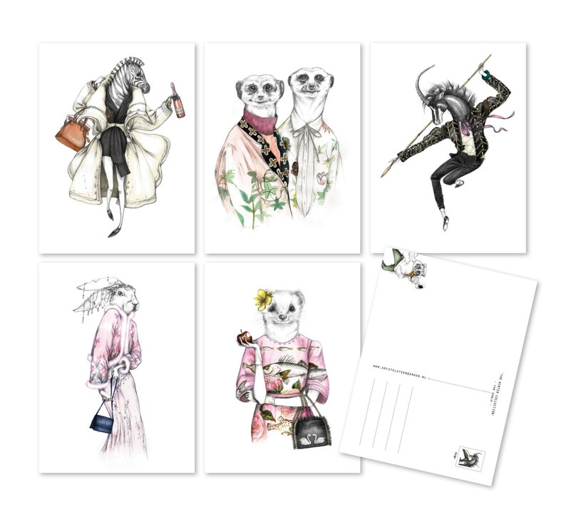 Illustrated fashion-postcard set 'the WINTER image 0