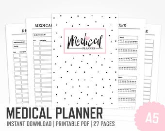 Medical Planner A5 Printable Binder Health Habit Tracker Medication Appointments INSTANT DOWNLOAD