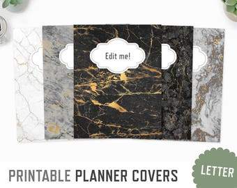 Planner Covers / Letter + A4 / Marble Textures Spine Inserts Planner Dashboard Binder Inserts Back Front Cover / INSTANT DOWNLOAD